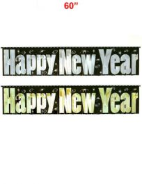 Assorted Happy New Year Fringe Foil Banner (60 Inches)