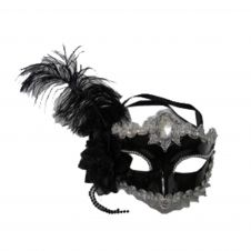 Black Face Mask with Feather & Ribbon