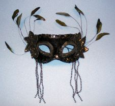 Black Fancy Sequin Feather Mask
