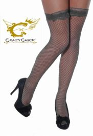 Black Fishnet Stockings With Lace Top