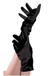 Black Satin Short Gloves
