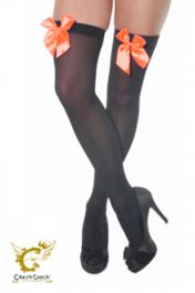 Black Stockings with Orange Bow