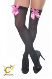 Black Stockings with Pink Bow