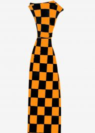 Black and Orange Checkered Neck Tie