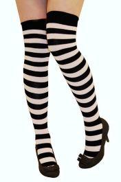 Black & White Stripe OTK Socks (12 Pairs)
