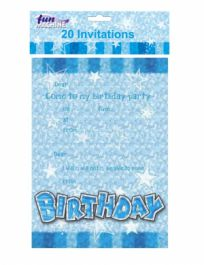 Blue Birthday Glam Invites (Pack of 20)