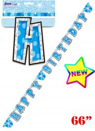 Blue Birthday Glam Letter Banner (66 Inches)