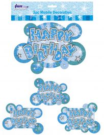 Blue Birthday Glam Mobile Decoration (Pack of 3)