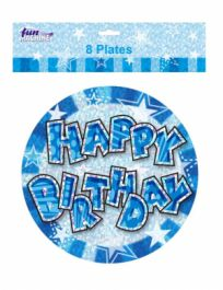 Blue Birthday Glam Plates (9 Inches) Pack of 8