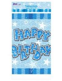 Blue Birthday Glam Table Cover