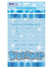 Blue Brithday Glam Invites and Envelops (Pack of 14)