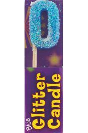 Blue Glitter 0 Digit Candle (Pack of 12)