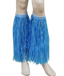 Blue Hawaiian Hula Straw Leg Cuffs