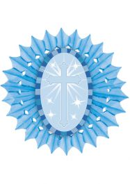 Blue Paper Fan With Cross