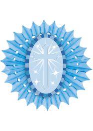 Blue Paper Fan With Cross