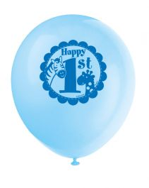 Blue Safari 1st Birthday Balloons 12 Inches (Pack of 8)