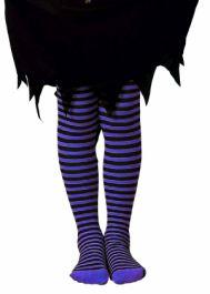 Child Stripe Tights Purple/Black