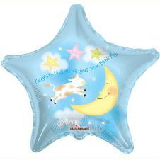 Congratulations on your New Baby Boy Star Balloon 18 Inches