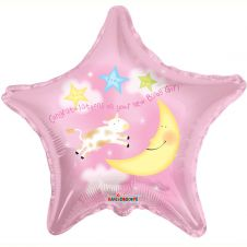 Congratulations on your New Baby Girl Star Balloon 18 Inches