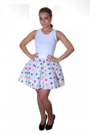 Crazy Chick Multi Dot White Polka Skirt (18 Inches)