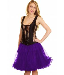 Crazy Chick 2 Layers Purple Ruffle TuTu Skirt (18 Inches Long)