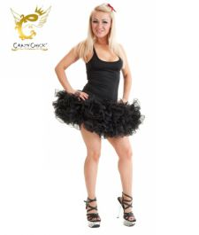 Crazy Chick 2 Layers Black Short Ruffle TuTu Skirt