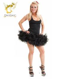 Crazy Chick 2 Layers Black Short Ruffle TuTu Skirt