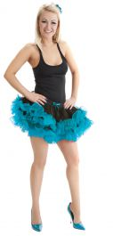 Crazy Chick 2 Layers Black Turquoise Short Ruffle TuTu Skirt