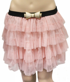 Crazy Chick 2 Layers Pink Bow Belt Mesh Tiered TuTu Skirt (Adult)