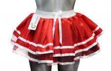 Crazy Chick 2 Stripe Red Satin Skirt