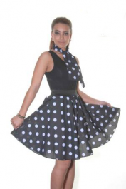 Crazy Chick Black White Polka Dot Skirt (22 Inches)