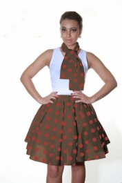 Crazy Chick Brown Red Polka Dot Skirt (22 Inches)