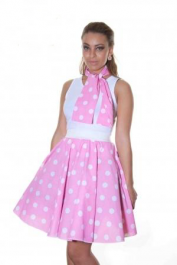 Crazy Chick Pink White Polka Dot Skirt (22 Inches)