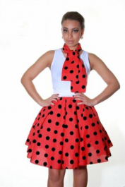 Crazy Chick Red Black Polka Dot Skirt (22 Inches)