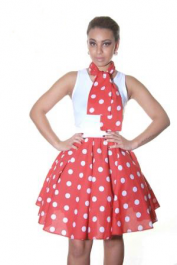 Crazy Chick Red White Polka Dot Skirt (22 Inches)
