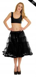 Crazy Chick 4 Tier Petticoat with Ribbon Black TuTu Skirt (Approximately 23 Inches Long)