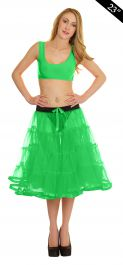 Crazy Chick 4 Tier Petticoat with Ribbon Green TuTu Skirt (Approximately 23 Inches Long)