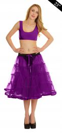Crazy Chick 4 Tier Petticoat with Ribbon Purple TuTu Skirt (Approximately 23 Inches Long)