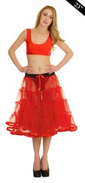 Crazy Chick 4 Tier Petticoat with Ribbon Red TuTu Skirt (Approximately 23 Inches Long)