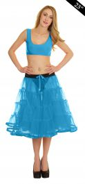Crazy Chick 4 Tier Petticoat with Ribbon Turquoise TuTu Skirt (Approximately 23 Inches Long)