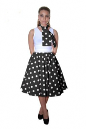 Crazy Chick Black White Polka Dot Skirt (26 Inches)