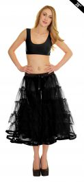 Crazy Chick 5 Tier Petticoat with Ribbon Black TuTu Skirt (Approximately 26 Inches Long)
