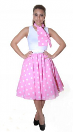 Crazy Chick Pink White Polka Dot Skirt ( 26 Inches)