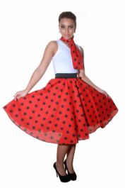 Crazy Chick Red Black Polka Dot Skirt ( 26 Inches)