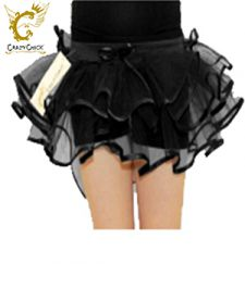 Crazy Chick Girls 3 Layers Black Burlesque TuTu Skirt
