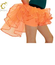 Crazy Chick Girls 3 Layers Orange Burlesque TuTu Skirt