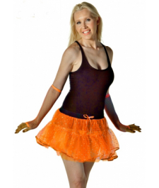 Crazy Chick Sequin 4 Layer Orange TuTu Skirt