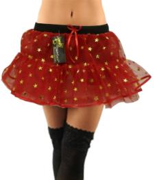 Crazy Chick Red 4 Layer Star Glitter TuTu Skirt