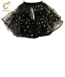 Crazy Chick 4 Layers Black Star TuTu Skirt