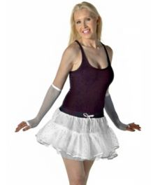 Crazy Chick Sequin 4 Layers  White TuTu Skirt